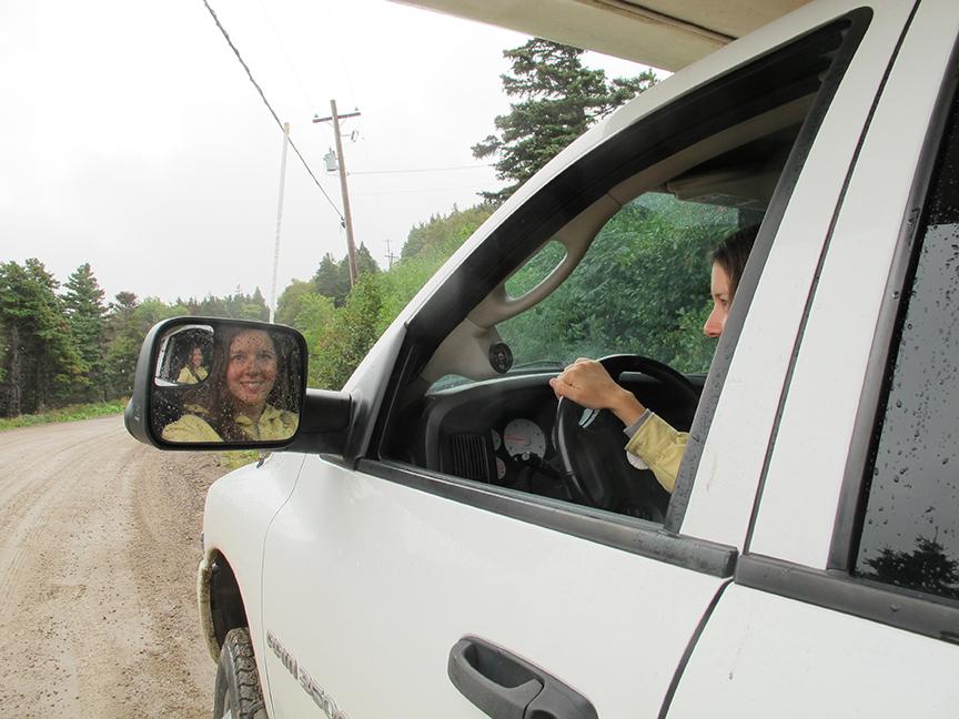 Daina driving Shasta, Cape Breton 2013